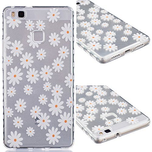 GrandEver TPU Cover per Huawei P9 LITE, UltraSlim Trasparente Morbido Gel Silicone Custodia Flexible Soft Protettivo Anti-graffio Case Copertura Disegno Bella - Crisantemo