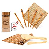 Bamboo Sushi Making Kit, Carbonized Rolling Mat for Mold-Resistant, Included 2 Rolling Mats