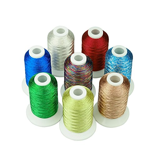 Simthreads 4 Metallisches Stickgarn - 8 Farben/Kit, 500 Meter, für Brother/Babylock / Janome/Kenmore / Singer Stickereimaschine