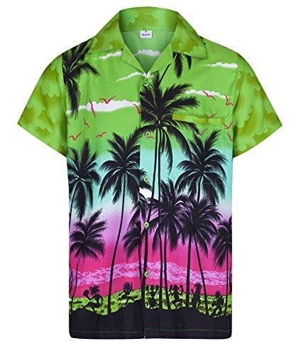 Redstar Fancy Dress - Herren Hawaiihemd - kurzärmelig - Palmenmotiv - Verkleidung Junggesellenabschied - alle Größen - Grün - ()