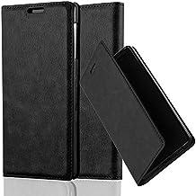 Cadorabo - Funda Book Style Cuero Sintético en Diseño Libro Sony Xperia Z1 - Etui Case Cover Carcasa Caja Protección con Imán Invisible en NEGRO-ANTRACITA