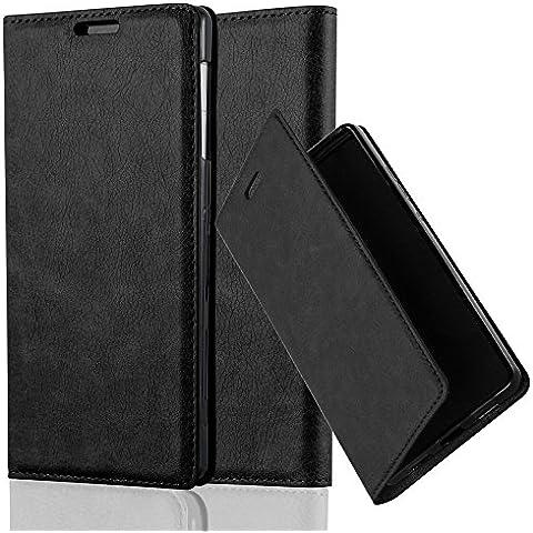 Cadorabo - Custodia Book Style per Sony Xperia Z1 Design Portafoglio con Chiusura Magnetica Invisible, Supporto Funzione e Vani di Carte - Etui Case Cover Involucro Bumper in NERO-DI-NOTTE
