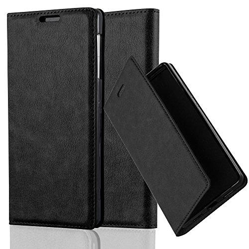 Sony Xperia Z1 Funda Estilo Libro de Cuero Sintético en NEGRO ANTRACI