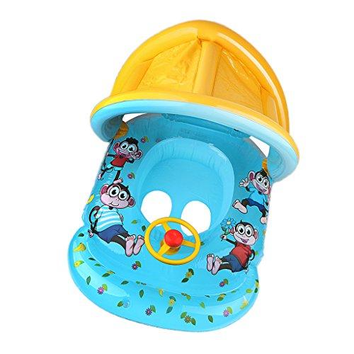 MagiDeal Hochwertige PVC Baby Schwimmsitz Aufblasbares Schwimmring Schwimmen Ring Boot mit Sonnendach Umweltschutz