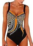heekpek Trajes de Una Pieza Vintage Impresión Bañador Natacion Mujer Surf Tallas Grandes Monokini Push Up...