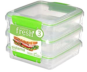 Sistema Fresh Sandwich Containers, 450ml-Pack of 3, Clear/Green