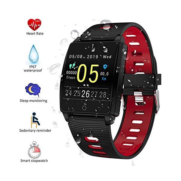 SmartWatch, Padgene Reloj Inteligente IP67 Impermeable Bluetooth Pulsera Actividad Deportiva Múltiples Lenguajes con Pulsómetro Monitor de Sueño, Música, Notificación de Llamada Mensaje para Android e iOS 1