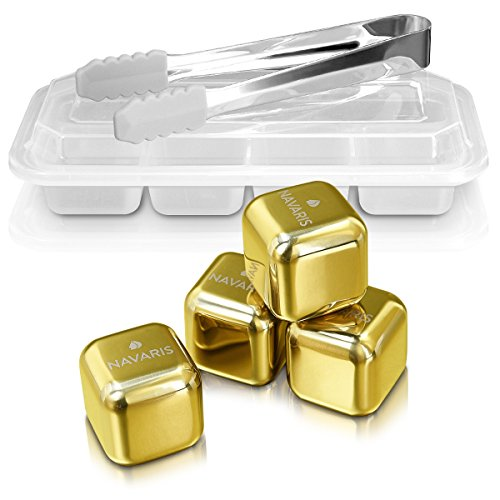 Navaris 4X Edelstahl Whiskey Steine - Eiswürfel Ice Cube Set Whisky Stones - Würfel in Gold für Cocktail Wein Rum Getränke - in Box mit Zange