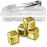 Navaris 4x cubos enfriadores para whisky - piedras enfriadoras para whisky ron cócteles - cubos en dorado para bebidas - en caja con pinzas