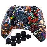 YoRHa D'impression Silicone Housse Silicone Couverture Skin Peau Coques Cas pour Xbox One S / X Manette x 1 (des Bêtes) avec Capuchon de Joystick Poignées PRO Thumb Grip x 8