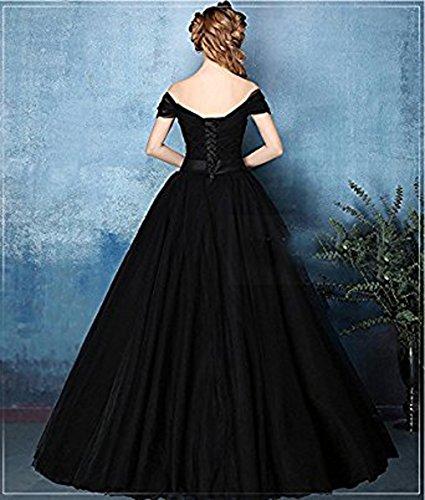 Vickyben Damen langes A-linie Ab-Schulter Tuell Prinzessin Kleid Abendkleid Ballkleid Brautjungfer kleid Party kleid mit Guertel Violett