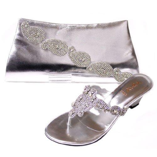 W & W Femme Cristal Diamant Chaussures & Taille Assortis (noir, jaune, argent, rouge) MOLLY & TASS Argent - argent