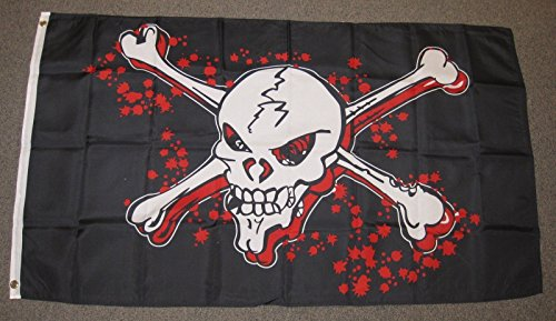 Home Comforts Grapeshot Blood Pirate Flag Ship Banner Skull Crossbones Jolly Roger Pennant 3x5 (Blood Flag)