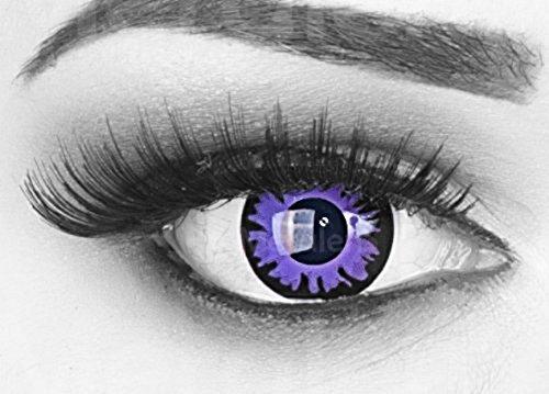 bige lila violet schwarze Crazy Fun Jahres Kontaktlinsen Toxic Plum mit gratis Linsenbehälter. Perfekt zu Halloween, Fasching und Karneval. (Lila Kontaktlinsen)