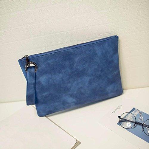 Saingace Frauen-lederner Handtaschen-Kupplungs-Abend-Beutel Einfache Retro Umschlag-Paket Handtaschen Schultertasche Freizeitrucksack Tasche Rucksäcke Blau