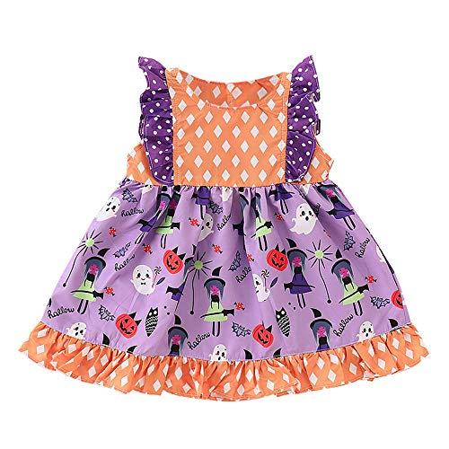 eeveless gekräuselten Kürbis Cartoon Polka Dot Print Kleid Kleinkind Baby Halloween Rüschen Patchwork Kleid Ruffled Pumpkin Patchwork Dress ()