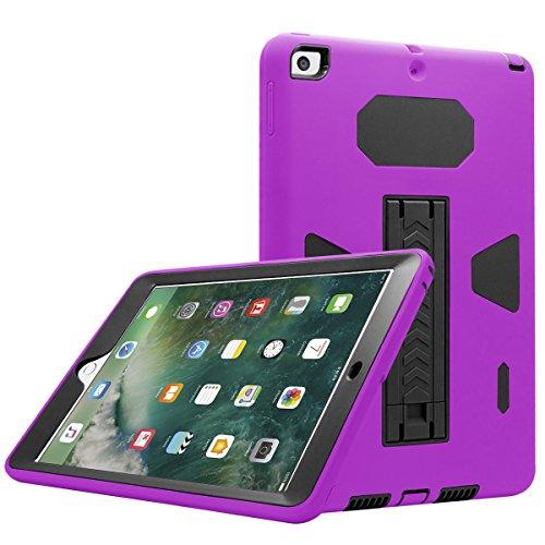 Neue iPad 24,6cm Case, eontry stoßfest Heavy Duty Full Body Cover Gummi Kunststoff Schutzhülle mit eingebautes Kick Ständer für Apple New iPad 24,6cm 20175. Gen./20186. Gen. violett Purple + Black - Gummi-kick