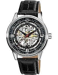 Akribos XXIV AK410SS - Reloj de hombre automático negro con correa de piel (Resistente a los choques, cristal mineral)