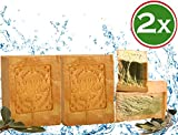 Jabón Aleppo, 2 x 200 g, 80% aceite de oliva, 20% aceite de laurel, jabón original de aceite de oliva, valor de PH 8, jabón para el cabello, jabón de ducha, propiedades detox, vegano, hecho a mano