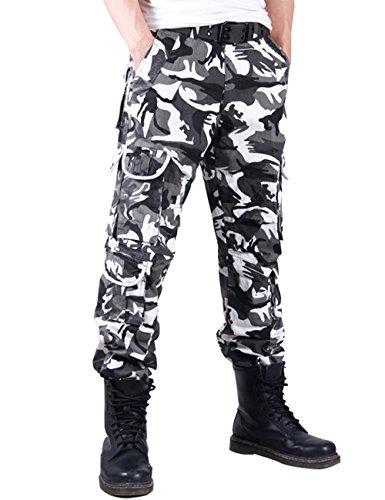 Menschwear Herren Cargo Hosen Freizeit Multi-Taschen Military pantaloni Ripstop Cargo da uomo (36,Schwarz Camouflage )