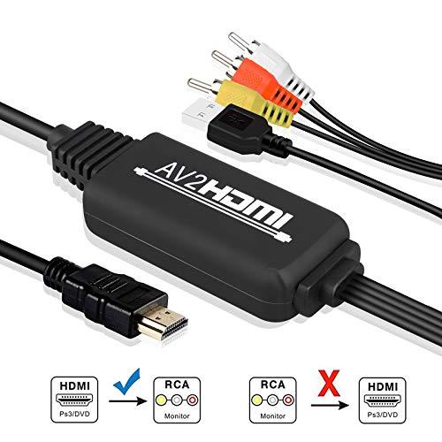 EEEkit RCA zu HDMI, AV zu HDMI Kabel, 3RCA CVBS Audio Video zu 1080P HDMI Unterstützt PAL NTSC für PC Laptop Xbox PS3 PS4 TV STB Kamera DVD etc Pal-dvd Ntsc-tv