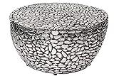 DuNord Design Couchtisch Silber rund 85cm Metall Mosaik Design Tisch Sofatisch Wohnzimmertisch
