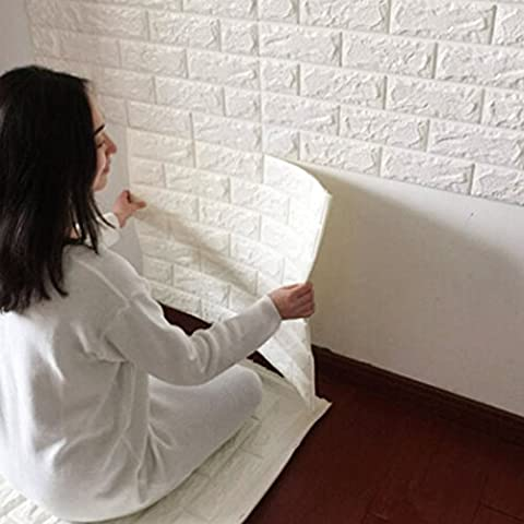 3D Ziegelstein Tapete 60x60cm Weiß~Brick Pattern Wallpaper~Wandaufkleber~ Fototapete ~Wandtapete ~Abnehmbare