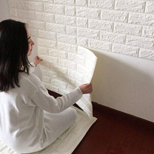 3D Ziegelstein Tapete 60x60cm Weiß~Brick Pattern Wallpaper~Wandaufkleber~ Fototapete ~Wandtapete ~Abnehmbare Selbstklebend Imitation Ziegel Tapete, Dekor für Wohnzimmer, Schlafzimmer, Kinderzimmer, Badezimmer oder Küche. (1 Stücke, Weiß)