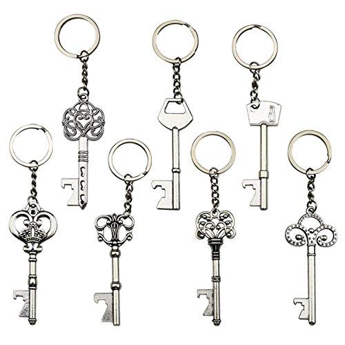 EVINIS Schlüssel Flaschenöffner - skeleton Schlüsselöffnung Bierflaschen Sodaflaschen keychain Schlüsselring für Heckklappenparty oder Hochzeitsfest, Festival (7 Stück, Silber)