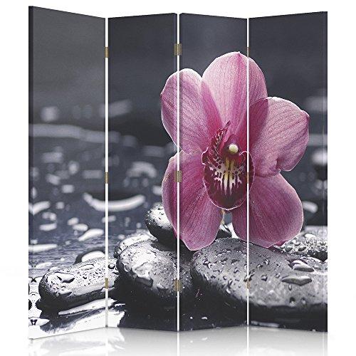 Feeby Frames Il paravento Stampato su Telo,Il divisorio Decorativo per Locali, unilaterale, a 4 Parti (145x150 cm), Composizione, Zen, Orchidea, Acqua, CIOTTOLI, Violet, Spa