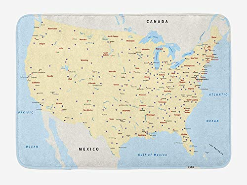 OQUYCZ Map Bath Mat, United States Interstate Map America Cities Travel Destinations Road Route, Plush Bathroom Decor Mat with Non Slip Backing, 23.6 W X 15.7 W Inches, Yellow Red Pale Blue