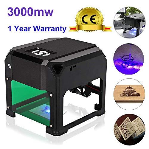 3000mw Laser Graviermaschine, Mini DIY USB Graveur Drucker CNC Router Schneiden Carver für Kunst Handwerk Wissenschaft für Win XP/7/8/10, Mac, Arbeitsbereich: 80 x 80mm