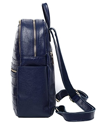 SAIERLONG Nuovo Donna Blu Vera Pelle Zaino stile vintage Blu
