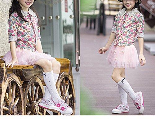 Scothen Chaussures chaussures de sport pour enfants espadrilles chaussures d'enfants pour les filles en toile Chaussures pour enfants en cours de sport de bébé baskets chaussures Rose-Rouge-2