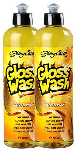 ShinyChiefs GlossWash Shampoo mit Mango Duft, Wash and Wax, Autoshampoo, Glanzverstärker, Lackversiegelung, Lackpflege, Wachs, Auto, Motorrad (Set (2 STK))