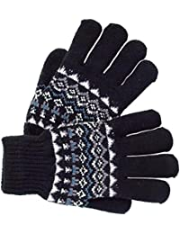 Mens Fairisle Style Pattern Knit Gloves Black Or Blue Stretch Double Layer Warm