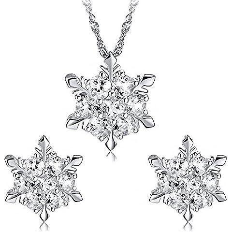findout signore swarovski blu / bianco / rosa / amethyst / multicolore collana di cristallo fiocco di neve ciondolo + orecchini set. donne .Per le ragazze, (f1634)