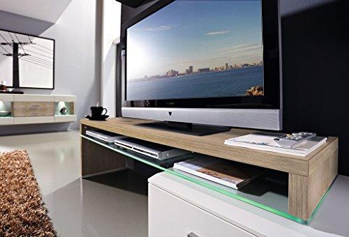 Design Wohnwand 4-teilig, mit Glasvitrinen, – Weiß Mattlack / Sonoma Eiche Nachbildung, Soft Close-Dämpfung, Selbsteinzug, Wohngalerie Montiert - 2