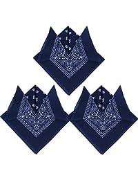 QUMAO Pack de 3(100% Algodón) Pañuelos Bandanas de Modelo de Paisleypara Cuello/Cabeza Multicolor Múltiple para Mujer y Hombre