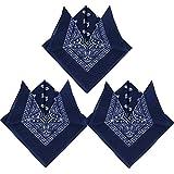 QUMAO Bandanas Paisley Multicolore 100% Coton Bandana Cheveux Bandeau Bandannas Foulard Fichu Mouchoir Echarpe Cadeau Homme Femme Noël (55cm*55cm)