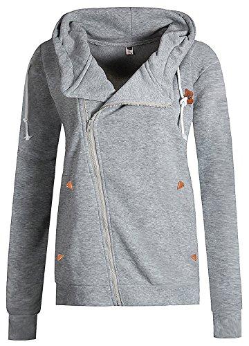 ELFIN® Femme Manteau Veste à Capuche Hoodie Sport Sweat shirt Casual Zip Jumper Sport Hauts Tops Neck pleine Gris clair