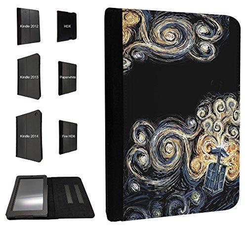 452 - doctor who tardis van gogh canvas Design 2014/2015 Kindle Paperwhite 6'' Fashion Trend TPU Leder Brieftasche Hülle Flip Cover Book Wallet Case