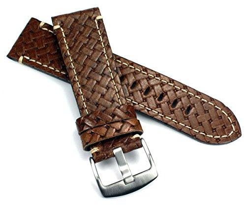 GRAF 24mm Kalbsleder geflochtene Prägung Uhrenarmbänder für Herren 24mm / 22mm Schwarz und braun handgemacht in Deutschland Echt Leder