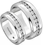 His And Hers 8MM/6MM TITANIUM Wedding Engagement Ring Set (Available Sizes L - Z+4) EMAIL US WITH YOUR SIZES