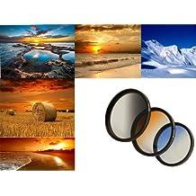 Conjunto de filtros de Graduado de HAIDA (Resina) Tamaño 67 mm - Consiste en el azul - graduaron Neutral, y Orange incluidos contenedor del filtro de metal