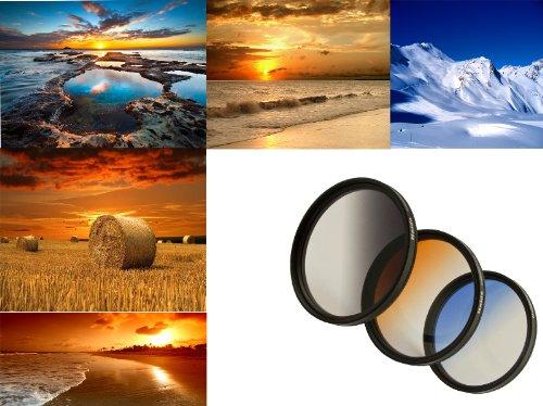 3er Verlaufsfilter Set (Blau, Grau, Orange) für Digitalkameras - Filterdurchmesser 58mm - Inkl. passendem Filtercontainer