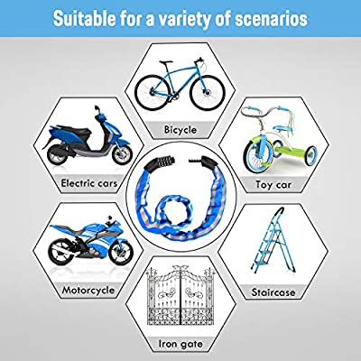 FishOaky Bike Lock Combination 5 Digit, Cycle Lock, Security Bicycle Chain Lock Heavy Duty Reflective Strips/Anti-Theft Cable, Universal for Kids & Adults Bike Motorcycles Gates Fences, 1M by FishOaky