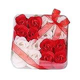 Lenfesh Herz duftende Bad Körper Blütenblatt Rose Blume Seife Hochzeit Dekoration Geschenk für Mutter Lehrer Hochzeitstag (Rot)