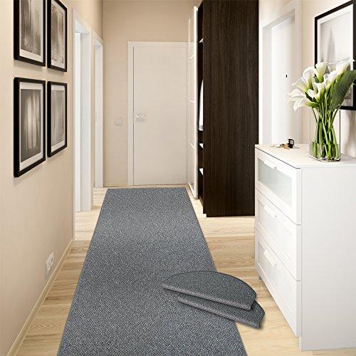 casa pura Teppich-Läufer Ponto | für Küche, Flur und Schlafzimmer | Meterware | Qualität aus Deutschland | in vielen Größen | stahlgrau | 66x200 cm