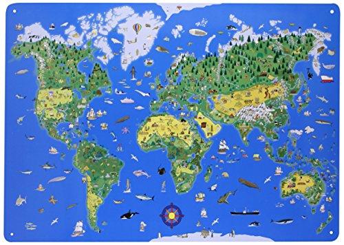 Preisvergleich Produktbild Magnettafel Illustrierte Weltkarte